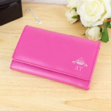 Crown Pink Leather Purse
